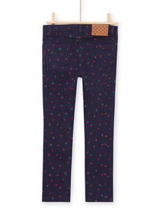 Boy's midnight blue twill pants with flower and heart print MAJOPANT3 / 21W90121PANC205