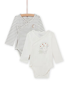 Lot of 2 long sleeved crossed bodysuits with mushroom design for mixed births MOU2BOD1 / 21WF03D1BOD001