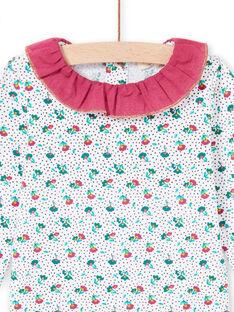 Baby girl's long sleeve ruffled collar bodysuit with floral print MITUBOD / 21WG09K1BOD001