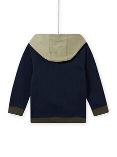 Boy's midnight blue hoodie with lion print MOKASWE / 21W902I1SWE705