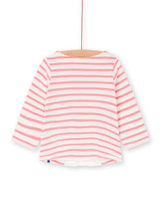 White and pink t-shirt with baby girl stripes LIHATEE / 21SG09X1TMLD305