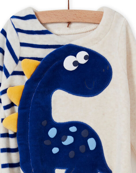 Baby boy ecru dinosaur romper MEGAGRENOS / 21WH1485GRE006