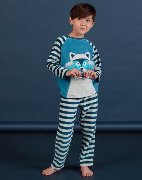 Boy's grey raccoon pajama set MEGOPYJRAC / 21WH1286PYJC235