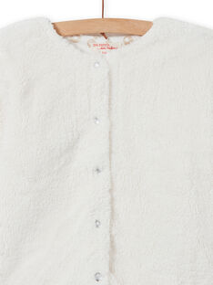 Girl's reversible faux fur ecru cardigan MAJOCARF2 / 21W90111CAR001