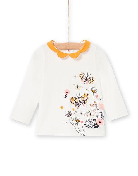 T-shirt ecru and yellow baby girl LIPOEBRA / 21SG09Y1BRA001