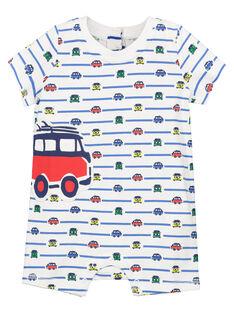 Baby boys' car print short sleepsuit FEGAGREART / 19SH14H5GRE099