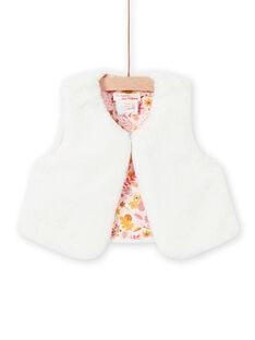 Off white faux fur vest baby girl MISAUCAR1 / 21WG09P1CAR001