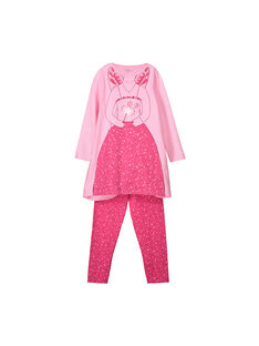 Girls' cotton nightdress with headband FEFACHUDE / 19SH1141PYGD301