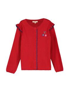 Girls' red knit cardigan FACOCAR1 / 19S90181CAR050