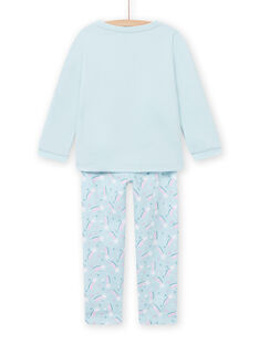 Blue lined pyjama set with unicorn pattern child girl MEFAPYJFUR / 21WH1193PYJ201
