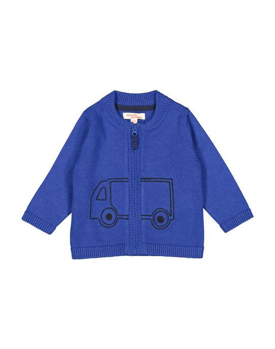 Baby boys' blue knit zipped cardigan FUJOGIL3 / 19SG1033GIL703
