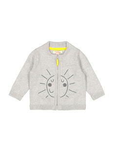 Baby boys' grey zipped cardigan FUJOGIL1 / 19SG1031GILJ908