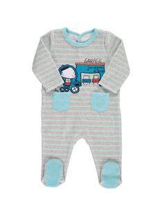 Baby boys' velour sleepsuit CEGUGREGAR / 18SH1443GRE099