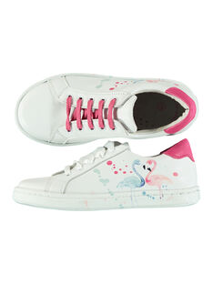 Girls? smart printed leather trainers FFBASFLAM / 19SK3541D3F000