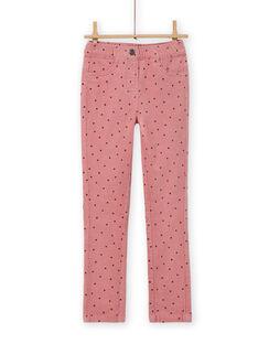 Girl's pink polka dot corduroy pants MAJOVEJEG3 / 21W901N3PANH700