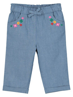 Baby girls' canvas trousers FICOPAN / 19SG0981PAN704