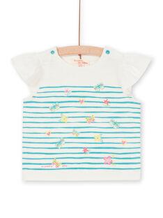 White and blue striped baby girl T-shirt LIVERTI2 / 21SG09Q1TMC001