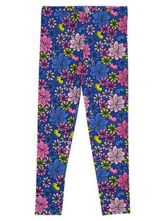 Girls' floral print leggings GYABLELEG / 19WI0191CAL707