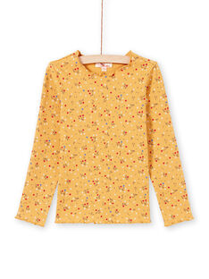 Girl's yellow ribbed t-shirt with flower print MAJOUTEE3 / 21W9012DTMLB106