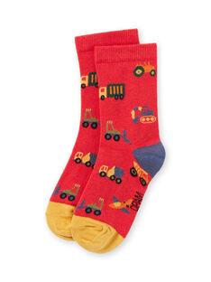 Boy's red vehicle socks MYOCOCHO / 21WI02L1SOQF521