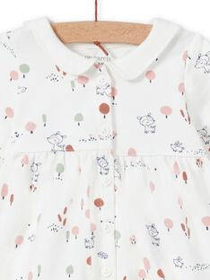 Fancy printed dress in ecru for a girl MOU1ROB / 21WF0341ROB001