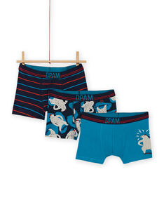 Set of 3 assorted boxer shorts with bear pattern for boys MEGOBOXOURS / 21WH12C2BOX705