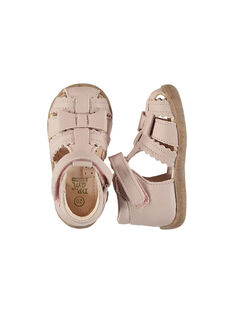 Baby girls' smart leather sandals FBFSANDHER / 19SK37K1D0E030