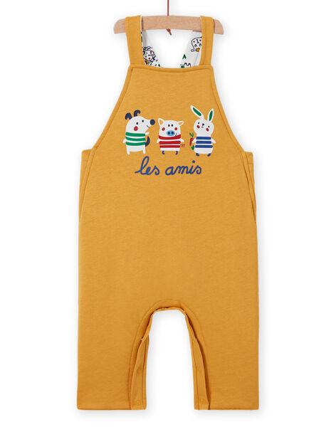 Baby boy reversible yellow overalls with animal print MUMIXSAL / 21WG10J1SAL001