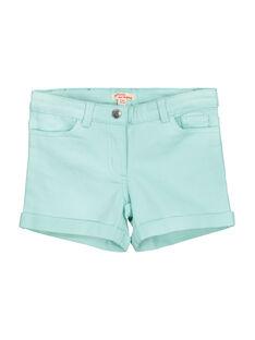 Girls' turquoise shorts FAJOSHORT4 / 19S901G3D30219