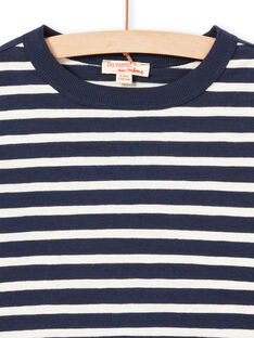 Boy's ecru and navy blue striped long sleeve T-shirt MOJOTIRIB1 / 21W90226TML001