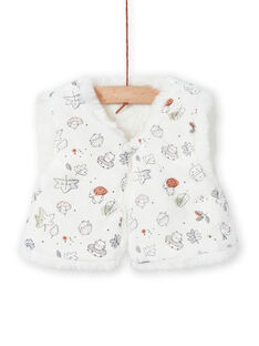 Fake fur sleeveless vest ecru birth girl MOU1GIL3 / 21WF0341GIL001