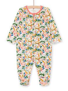 Jungle printed green and ecru sleep suit girl LEFIGREJUN / 21SH1352GRE001