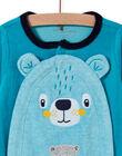 Baby boy turquoise velvet romper with teddy bear pattern MEGAGREOUR / 21WH1484GRE202