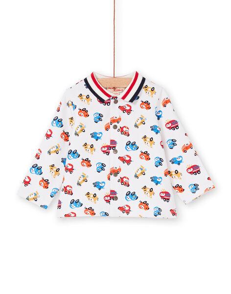 Red and ecru shirt baby boy car print LUHACHEM / 21SG10X1CHM001