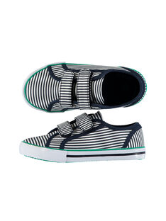 Boys' striped canvas trainers FGVELRAY / 19SK36C1D16070