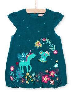Baby girl duck blue sleeveless dress MITUROB2 / 21WG09K2ROB714