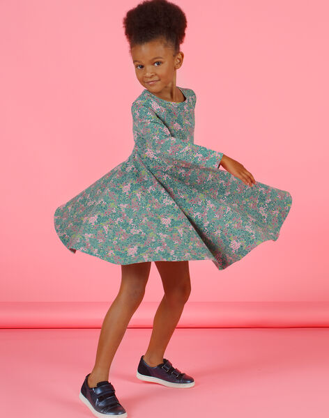 Khaki and pink dress with flowery print, girl MAKAROB5 / 21W901I2ROB612