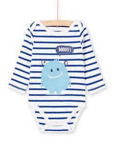 Baby boy white long sleeve striped bodysuit with monster design MEGABODMON / 21WH14B3BDL000