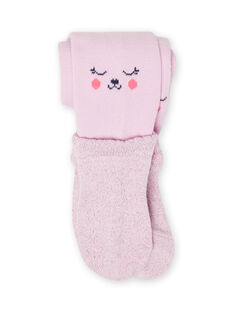 Baby girl's plain lavender tights with teddy bear pattern MYIPLACOL / 21WI09O1COL326
