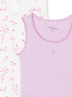Set of 2 assorted white and purple tank tops for baby girl MEFADERIB / 21WH11B3HLI001