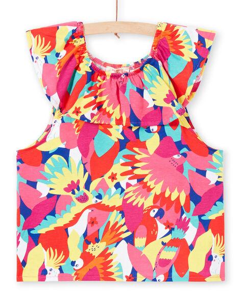 Girl's parrot print T-shirt with ruffles JAMARTI2 / 20S901P1TMC000