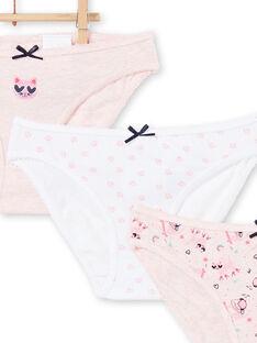 Lot of 3 panties child girl cats patterns LEFALOTCHA / 21SH1126D5LD314