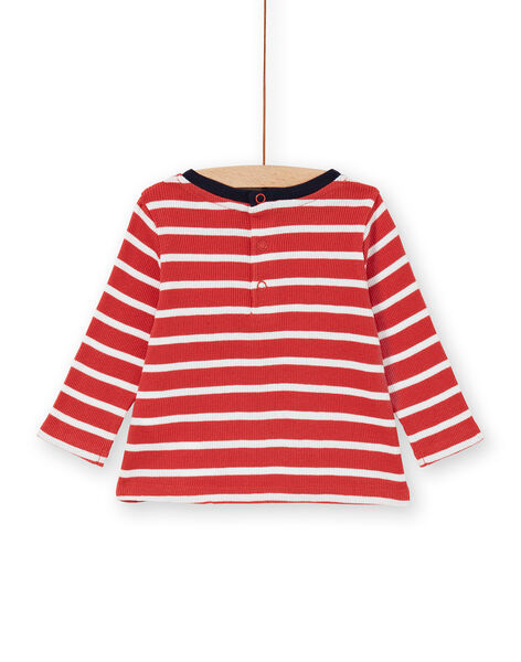 Red and white striped cotton t-shirt baby boy LUJOTEE5 / 21SG1031TML410