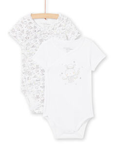 Set of 2 white bodysuits for boys LOU2BOD1 / 21SF04I1BOD000