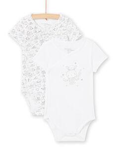 Set of 2 white bodysuits for boys LOU2BOD1 / 21SF04I1BOD000