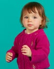 Baby girl dark pink embroidered knitted cardigan MITUCAR1 / 21WG09K1CARD312