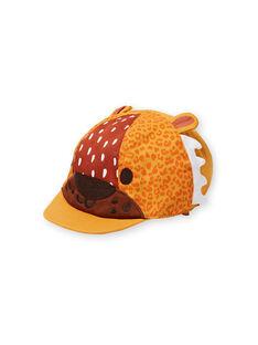 Baby boy yellow leopard print cap LYUTERCASQ / 21SI10V1CHAB106