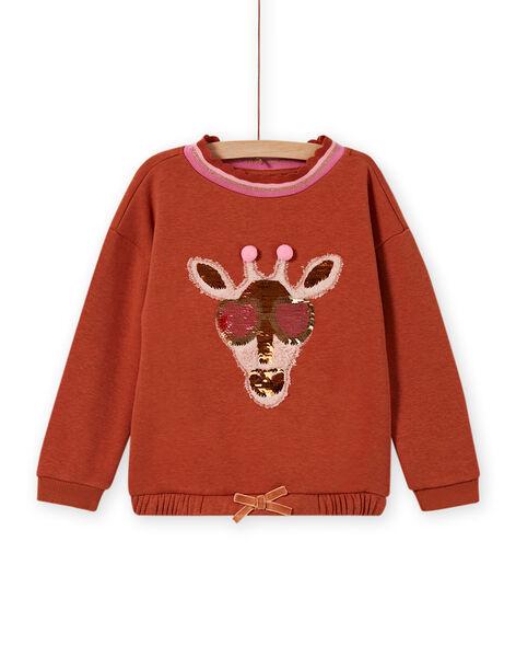Girl's giraffe sweatshirt with sequins MACOMSWEA / 21W901L1SWE420