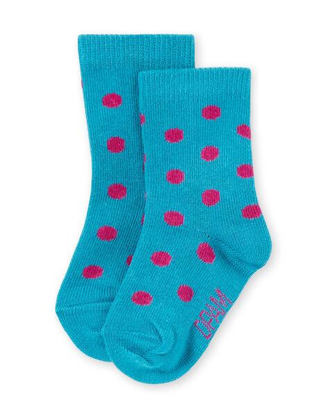 Baby girl turquoise socks with pink polka dots MYIJOSOQ4 / 21WI091ASOQ209