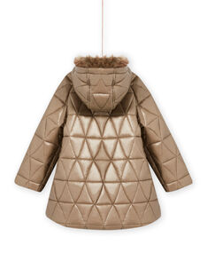 Girl gold hooded parka MAPLAPARKA / 21W90163PAR955